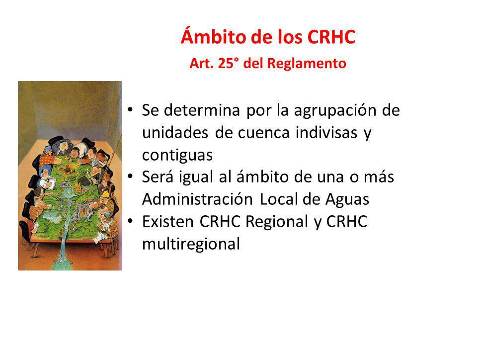 Ámbito de los CRHC Se determina por la agrupación de unidades de cuenca indivisas y contiguas Será igual al ámbito de una o más Administración Local d
