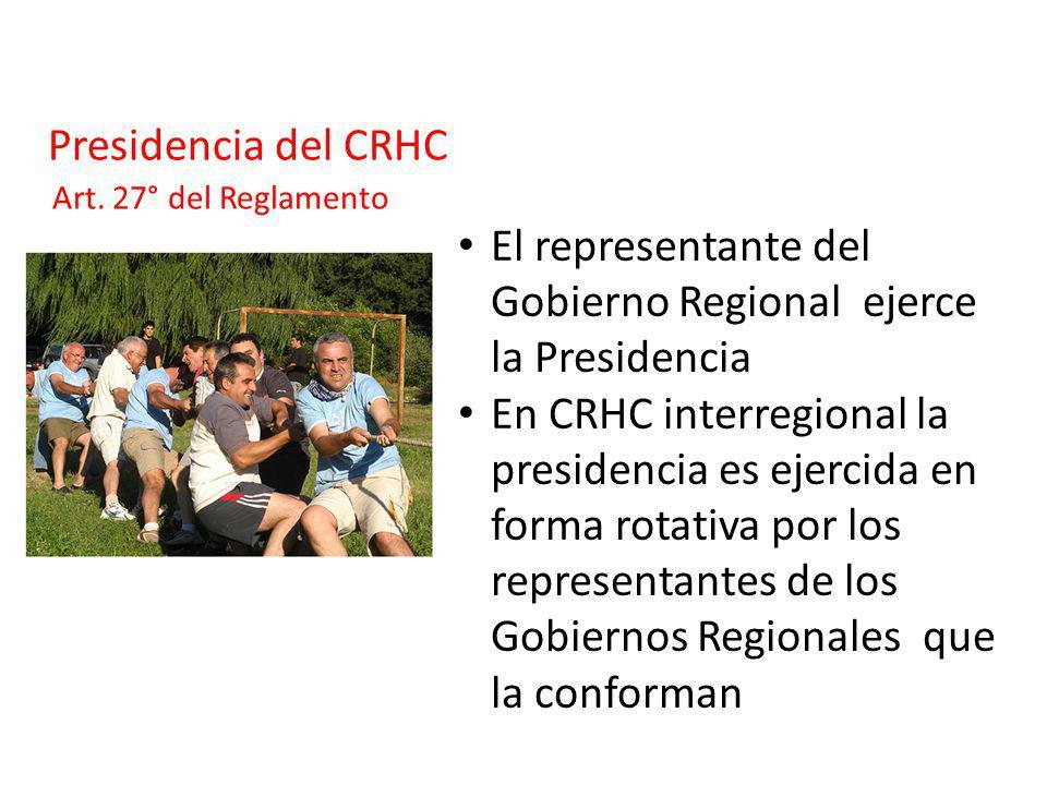 Presidencia del CRHC El representante del Gobierno Regional ejerce la Presidencia En CRHC interregional la presidencia es ejercida en forma rotativa p