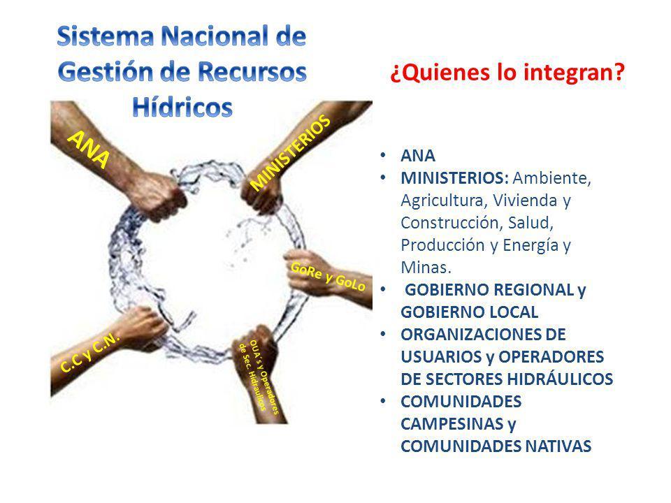 ¿Quienes lo integran? ANA MINISTERIOS: Ambiente, Agricultura, Vivienda y Construcción, Salud, Producción y Energía y Minas. GOBIERNO REGIONAL y GOBIER