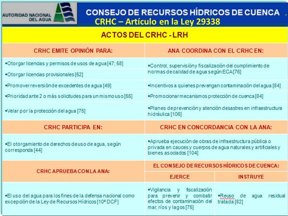 CRHC – Artículo en la Ley 29338