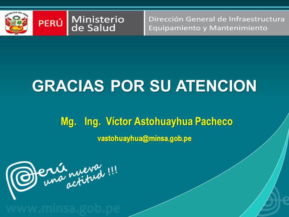 GRACIAS POR SU ATENCION Mg. Ing. Víctor Astohuayhua Pacheco Mg. Ing. Víctor Astohuayhua Pachecovastohuayhua@minsa.gob.pe
