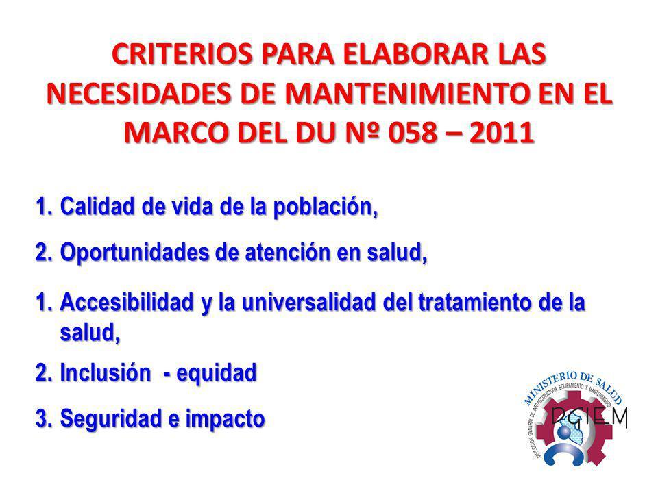 CRITERIOS PARA ELABORAR LAS NECESIDADES DE MANTENIMIENTO EN EL MARCO DEL DU Nº 058 – 2011 1.Calidad de vida de la población, 2.Oportunidades de atenci