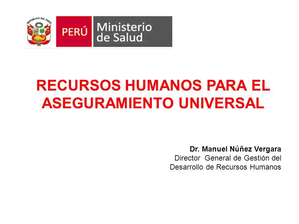 Dr. Manuel Núñez Vergara Director General de Gestión del Desarrollo de Recursos Humanos RECURSOS HUMANOS PARA EL ASEGURAMIENTO UNIVERSAL