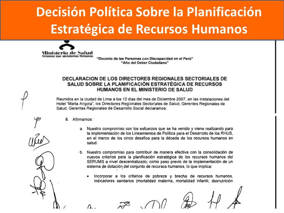 Decisión Política Sobre la Planificación Estratégica de Recursos Humanos