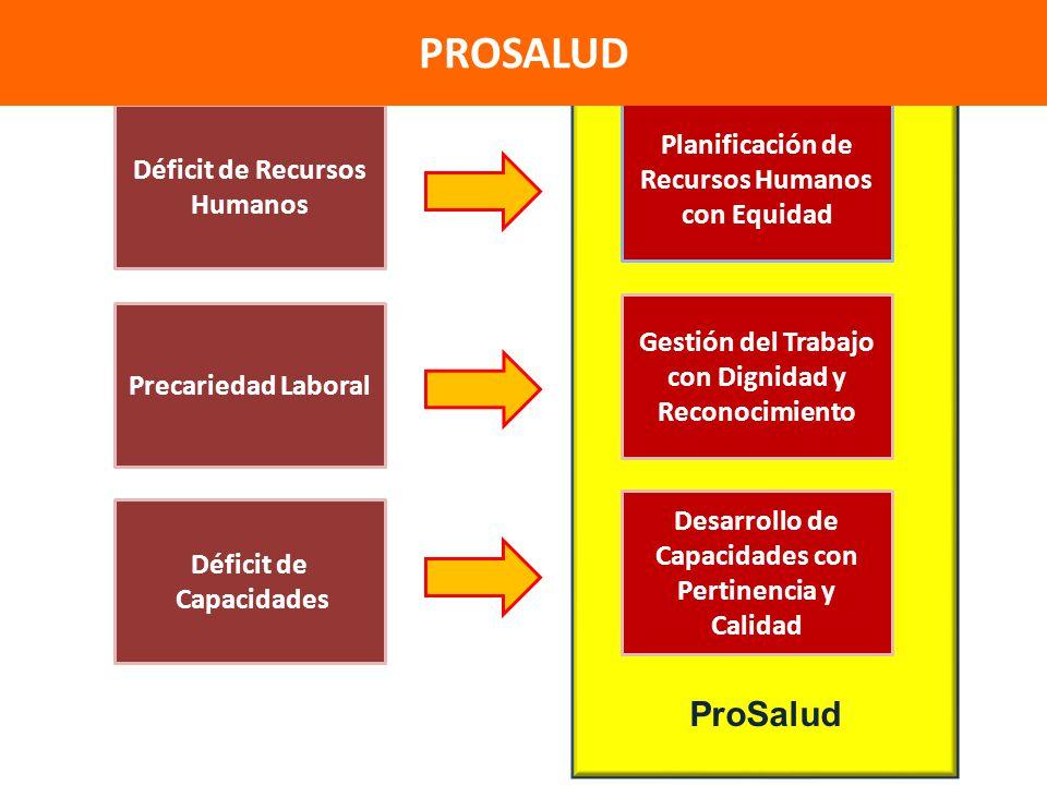 ProSalud Déficit de Recursos Humanos Planificación de Recursos Humanos con Equidad Precariedad Laboral Gestión del Trabajo con Dignidad y Reconocimien
