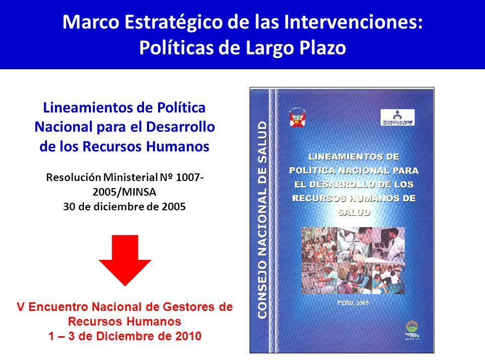 Lineamientos de Política Nacional para el Desarrollo de los Recursos Humanos Resolución Ministerial Nº 1007- 2005/MINSA 30 de diciembre de 2005 Marco Estratégico de las Intervenciones: Políticas de Largo Plazo V Encuentro Nacional de Gestores de Recursos Humanos 1 – 3 de Diciembre de 2010