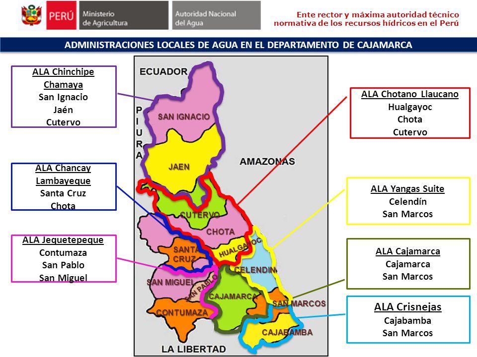 SAN IGNACIO JAEN CHOTA SANTACRUZ CONTUMAZA ADMINISTRACIONES LOCALES DE AGUA EN EL DEPARTAMENTO DE CAJAMARCA ALA Chinchipe Chamaya San Ignacio Jaén Cut