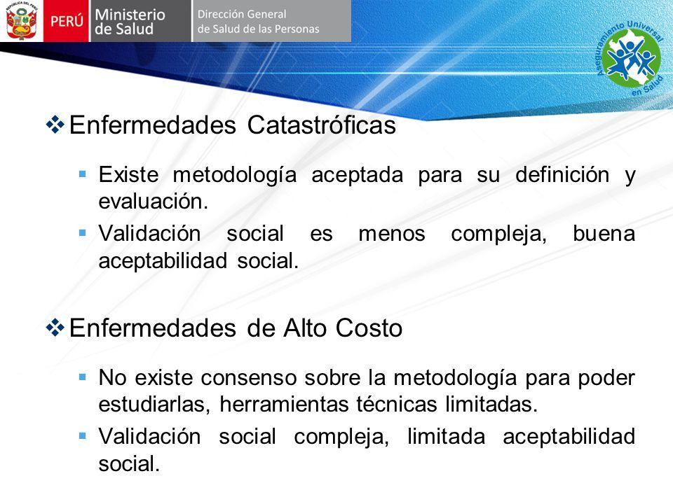 Enfermedades Catastróficas Existe metodología aceptada para su definición y evaluación.