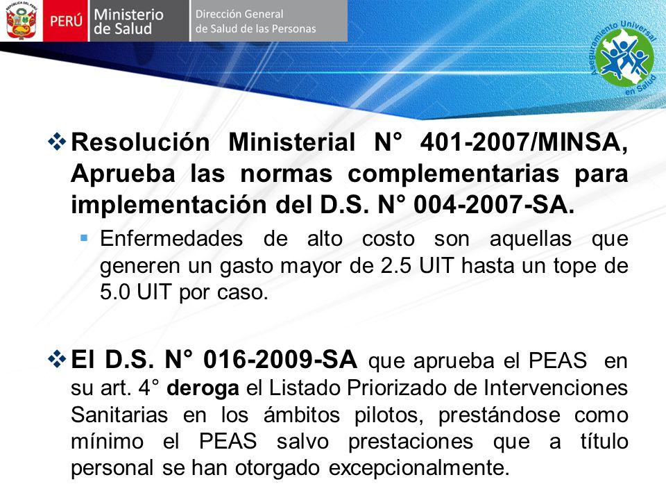 Resolución Ministerial N° 401-2007/MINSA, Aprueba las normas complementarias para implementación del D.S.