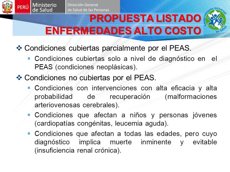 Condiciones cubiertas parcialmente por el PEAS.