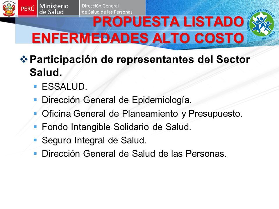 Condiciones incluidas en el PEAS Capítulo CIE10 Diagnóstico (intervención) DCáncer de cuello uterino DCáncer de mama DCáncer de colon DCáncer gástrico DCáncer de próstata PROPUESTA LISTADO ENFERMEDADES ALTO COSTO