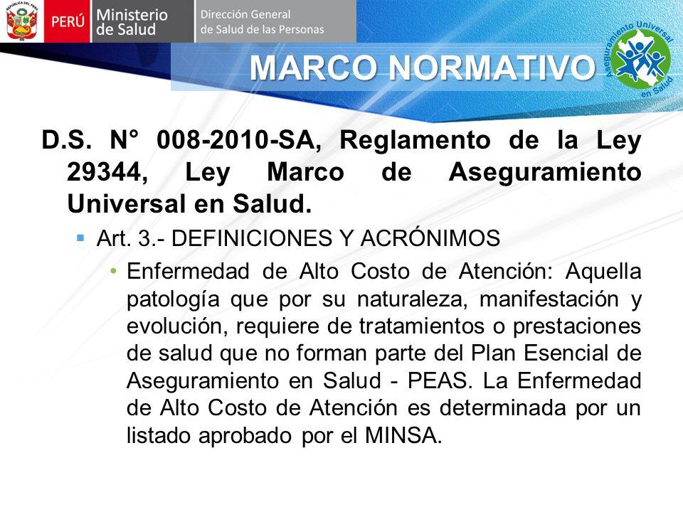 D.S.N° 008-2010-SA, Reglamento de la Ley 29344, Ley Marco de Aseguramiento Universal en Salud.