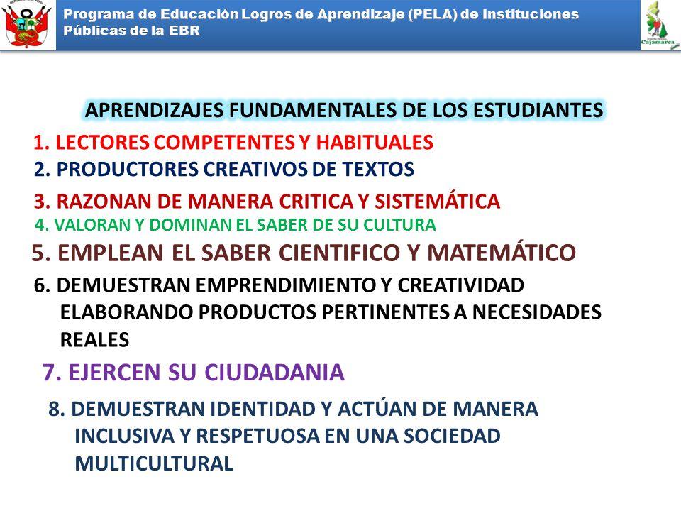 1. LECTORES COMPETENTES Y HABITUALES 2. PRODUCTORES CREATIVOS DE TEXTOS 3. RAZONAN DE MANERA CRITICA Y SISTEMÁTICA 4. VALORAN Y DOMINAN EL SABER DE SU