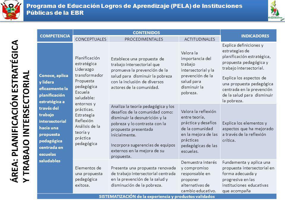 ÁREA: PLANIFICACIÓN ESTRATÉGICA Y TRABAJO INTERSECTORIAL COMPETENCIA CONTENIDOS INDICADORES CONCEPTUALESPROCEDIMENTALESACTITUDINALES Conoce, aplica y lidera eficazmente la planificación estratégica a través del trabajo intersectorial hacia una propuesta pedagógica centrada en escuelas saludables Planificación estratégica Liderazgo transformador Propuesta pedagógica Escuela saludable: entornos y prácticas.