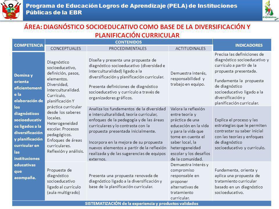 ÁREA: DIAGNÓSTICO SOCIOEDUCATIVO COMO BASE DE LA DIVERSIFICACIÓN Y PLANIFICACIÓN CURRICULAR COMPETENCIA CONTENIDOS INDICADORES CONCEPTUALESPROCEDIMENTALESACTITUDINALES Domina y orienta eficientement e la elaboración de los diagnósticos socioeducativ os ligados a la diversificación y planificación curricular en las instituciones educativas que acompaña.
