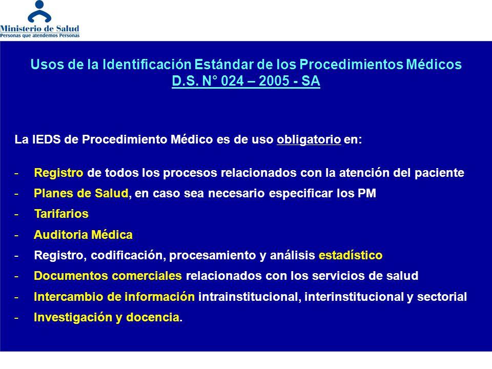 Usos de la Identificación Estándar de los Procedimientos Médicos D.S. N° 024 – 2005 - SA La IEDS de Procedimiento Médico es de uso obligatorio en: -Re