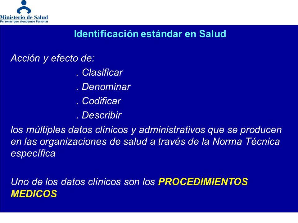 Identificación estándar en Salud Acción y efecto de:. Clasificar. Denominar. Codificar. Describir los múltiples datos clínicos y administrativos que s