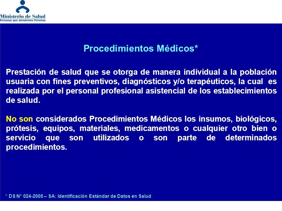 Procedimientos Médicos* Prestación de salud que se otorga de manera individual a la población usuaria con fines preventivos, diagnósticos y/o terapéut