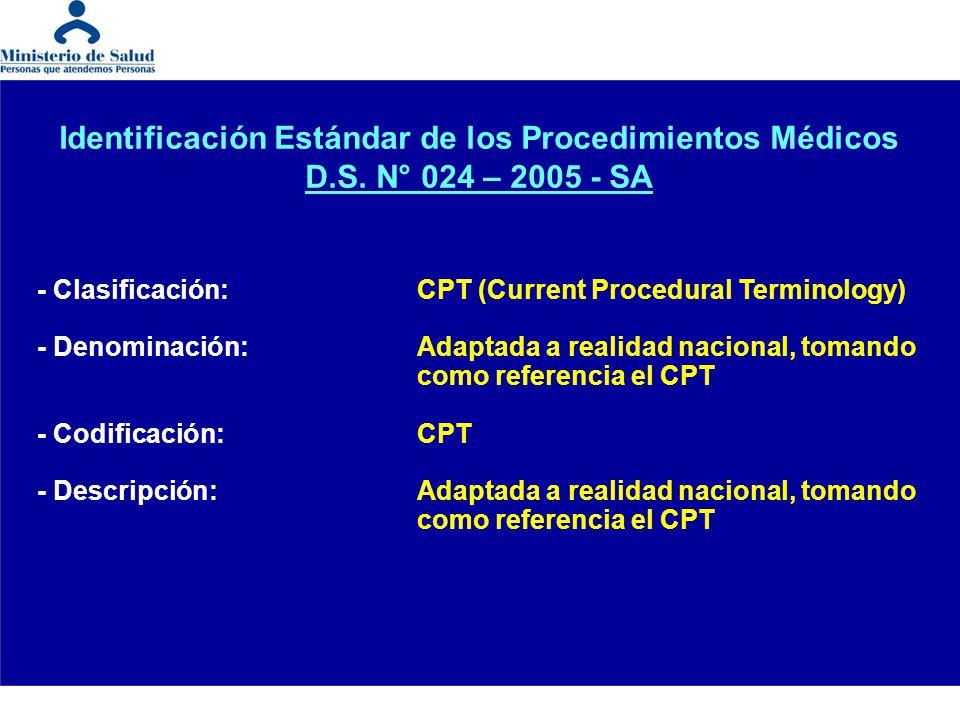 - Clasificación:CPT (Current Procedural Terminology) - Denominación:Adaptada a realidad nacional, tomando como referencia el CPT - Codificación:CPT -