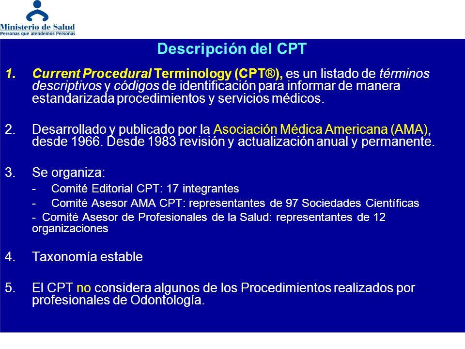 Descripción del CPT 1.Current Procedural Terminology (CPT®), es un listado de términos descriptivos y códigos de identificación para informar de maner