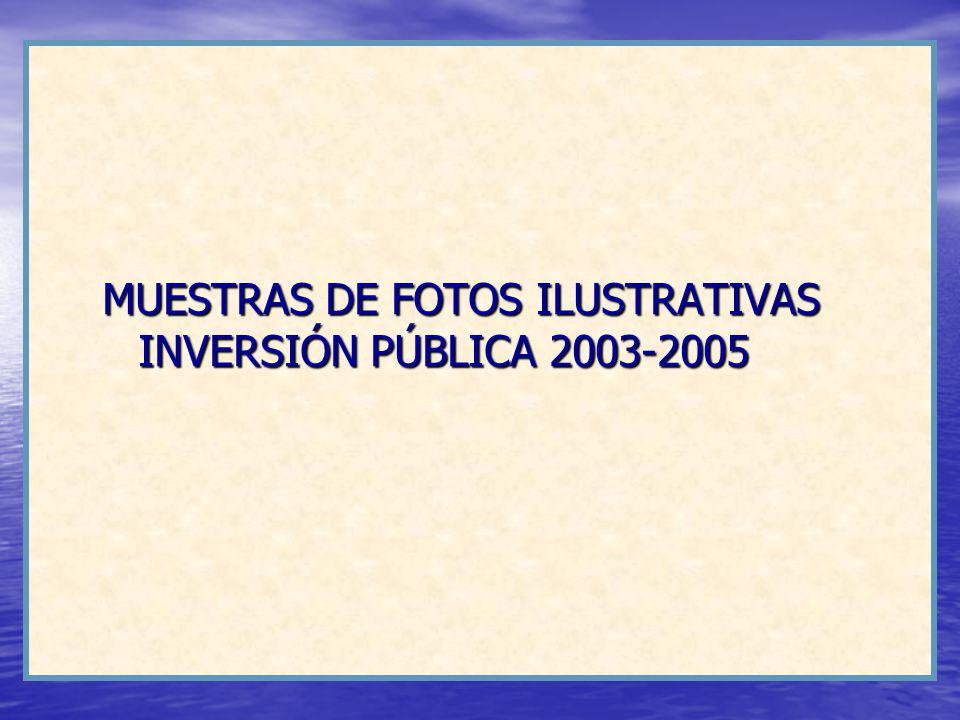 MUESTRAS DE FOTOS ILUSTRATIVAS INVERSIÓN PÚBLICA 2003-2005