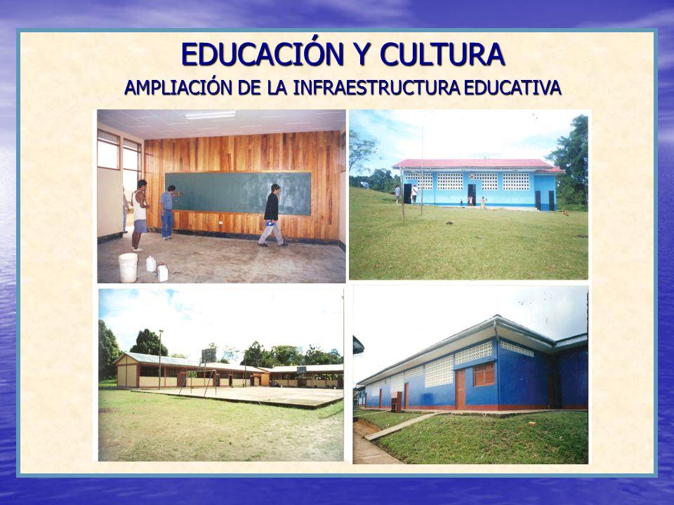 EDUCACIÓN Y CULTURA AMPLIACIÓN DE LA INFRAESTRUCTURA EDUCATIVA