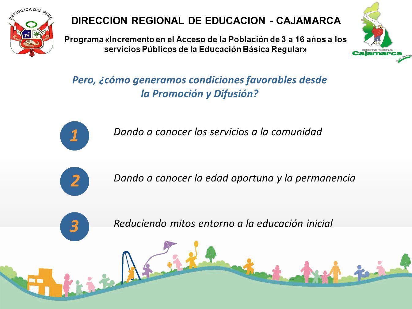 Programa «Incremento en el Acceso de la Población de 3 a 16 años a los servicios Públicos de la Educación Básica Regular» DIRECCION REGIONAL DE EDUCAC