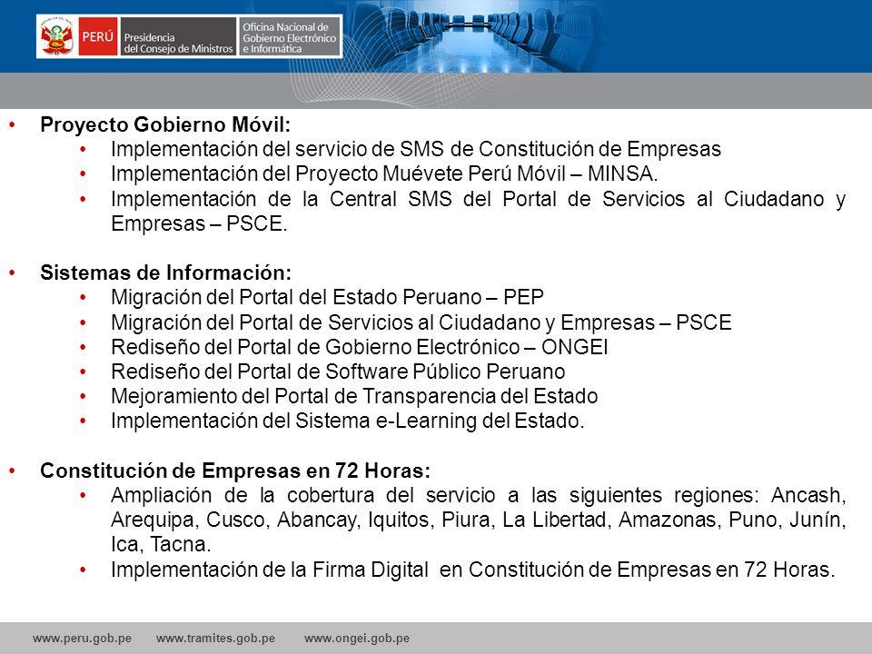 www.peru.gob.pe www.tramites.gob.pe www.ongei.gob.pe Proyecto Gobierno Móvil: Implementación del servicio de SMS de Constitución de Empresas Implementación del Proyecto Muévete Perú Móvil – MINSA.