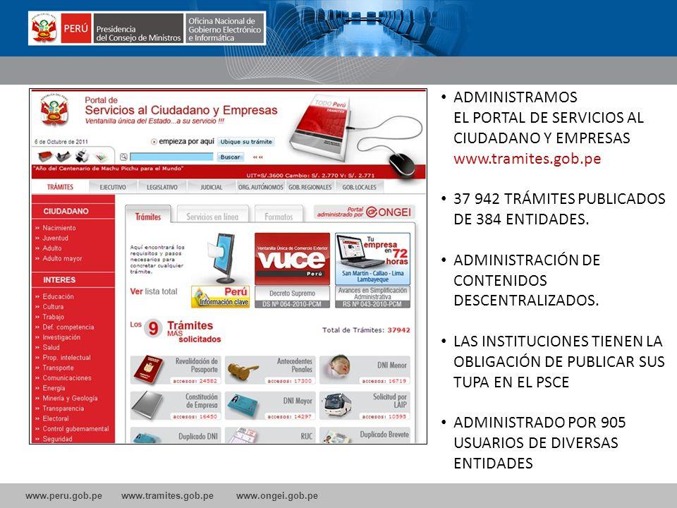 www.peru.gob.pe www.tramites.gob.pe www.ongei.gob.pe ADMINISTRAMOS EL PORTAL DE SERVICIOS AL CIUDADANO Y EMPRESAS www.tramites.gob.pe 37 942 TRÁMITES