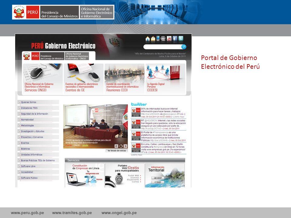 www.peru.gob.pe www.tramites.gob.pe www.ongei.gob.pe Portal de Gobierno Electrónico del Perú