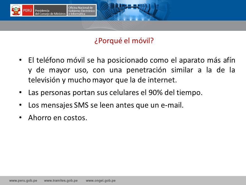 www.peru.gob.pe www.tramites.gob.pe www.ongei.gob.pe El teléfono móvil se ha posicionado como el aparato más afín y de mayor uso, con una penetración