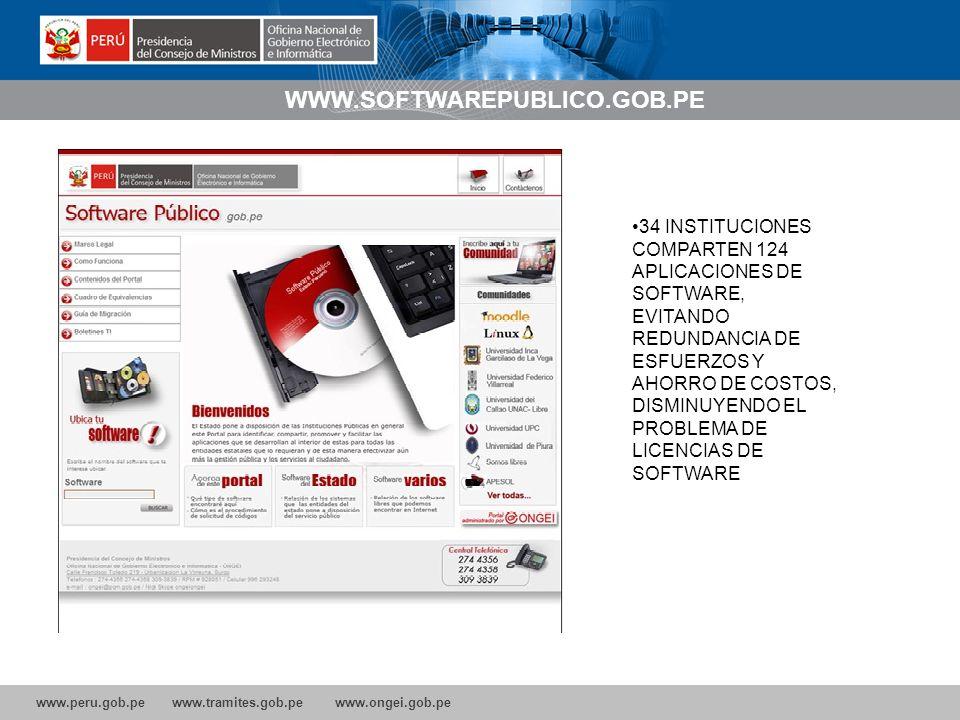 www.peru.gob.pe www.tramites.gob.pe www.ongei.gob.pe WWW.SOFTWAREPUBLICO.GOB.PE 34 INSTITUCIONES COMPARTEN 124 APLICACIONES DE SOFTWARE, EVITANDO REDUNDANCIA DE ESFUERZOS Y AHORRO DE COSTOS, DISMINUYENDO EL PROBLEMA DE LICENCIAS DE SOFTWARE