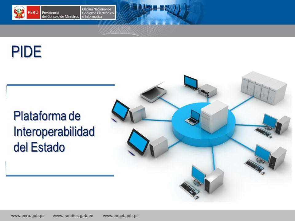 www.peru.gob.pe www.tramites.gob.pe www.ongei.gob.pe Plataforma de Interoperabilidad del Estado PIDE