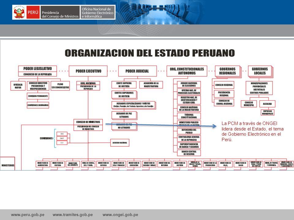 www.peru.gob.pe www.tramites.gob.pe www.ongei.gob.pe Oficina Nacional de Gobierno Electrónico e Informática La PCM a través de ONGEI lidera desde el Estado, el tema de Gobierno Electrónico en el Perú.