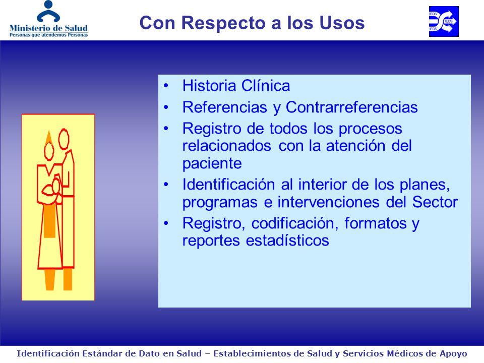 Identificación Estándar de Dato en Salud – Establecimientos de Salud y Servicios Médicos de Apoyo Con Respecto a los Usos Historia Clínica Referencias