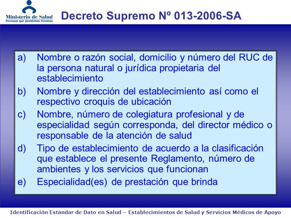Identificación Estándar de Dato en Salud – Establecimientos de Salud y Servicios Médicos de Apoyo a)Nombre o razón social, domicilio y número del RUC