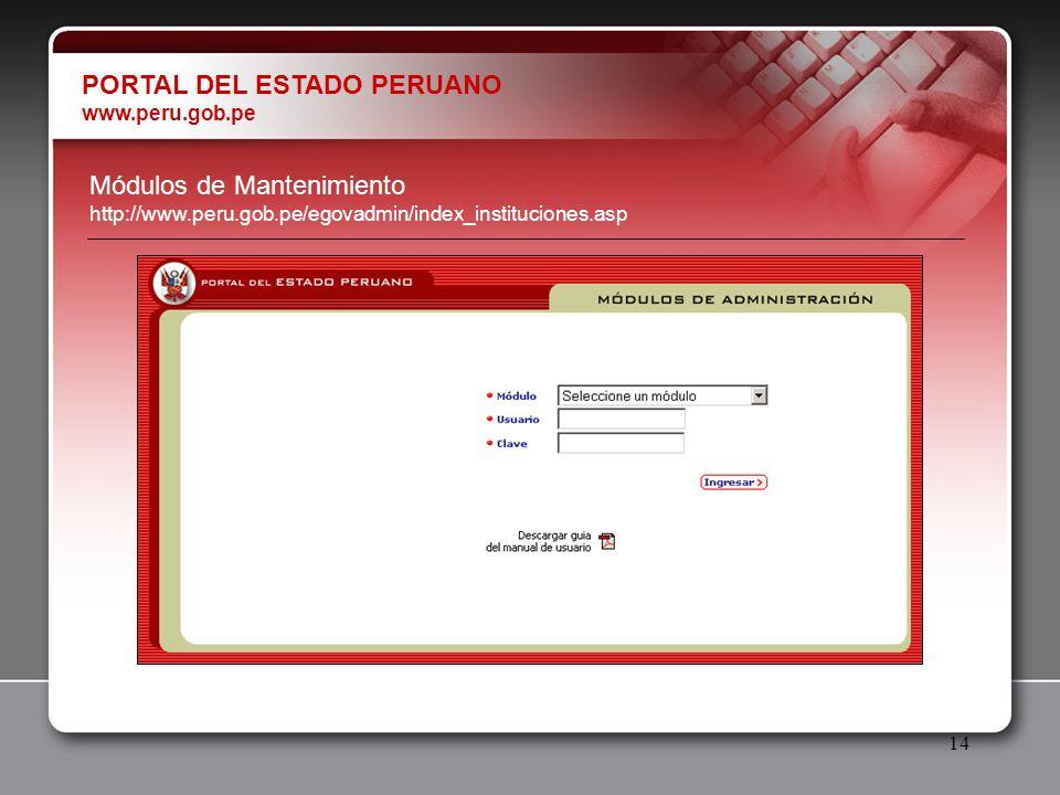 14 PORTAL DEL ESTADO PERUANO www.peru.gob.pe Módulos de Mantenimiento http://www.peru.gob.pe/egovadmin/index_instituciones.asp