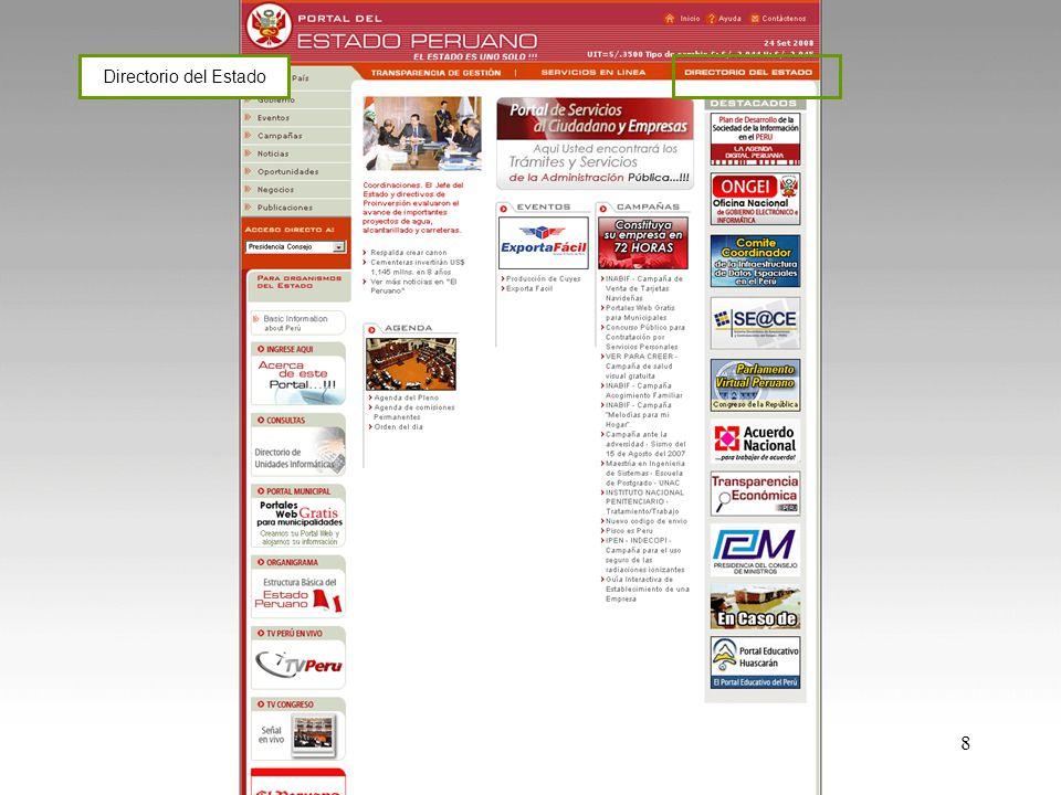 19 Módulos de Mantenimiento http://www.peru.gob.pe/egovadmin/index_instituciones.asp PORTAL DEL ESTADO PERUANO www.peru.gob.pe