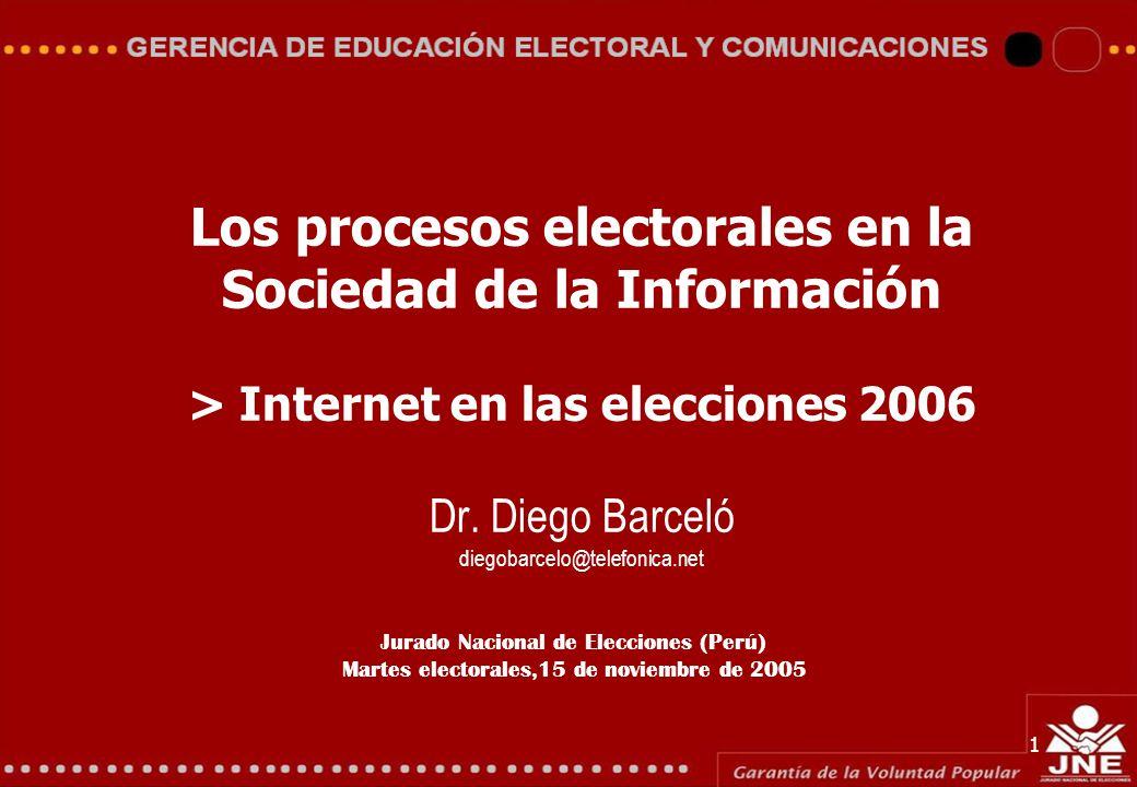 Jurado Nacional de Elecciones (Perú) Martes electorales,15 de noviembre de 2005 1 Los procesos electorales en la Sociedad de la Información > Internet en las elecciones 2006 Dr.