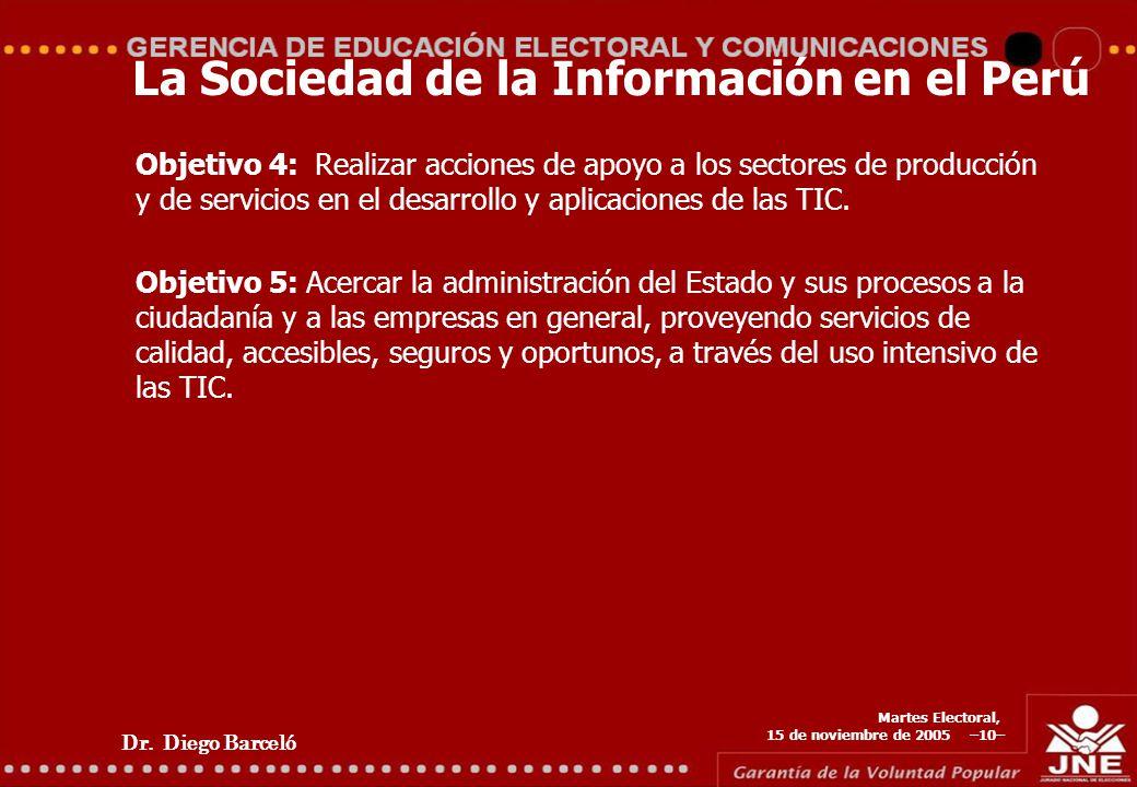 Dr. Diego Barceló Martes Electoral, 15 de noviembre de 2005 –10– La Sociedad de la Información en el Perú Objetivo 4: Realizar acciones de apoyo a los
