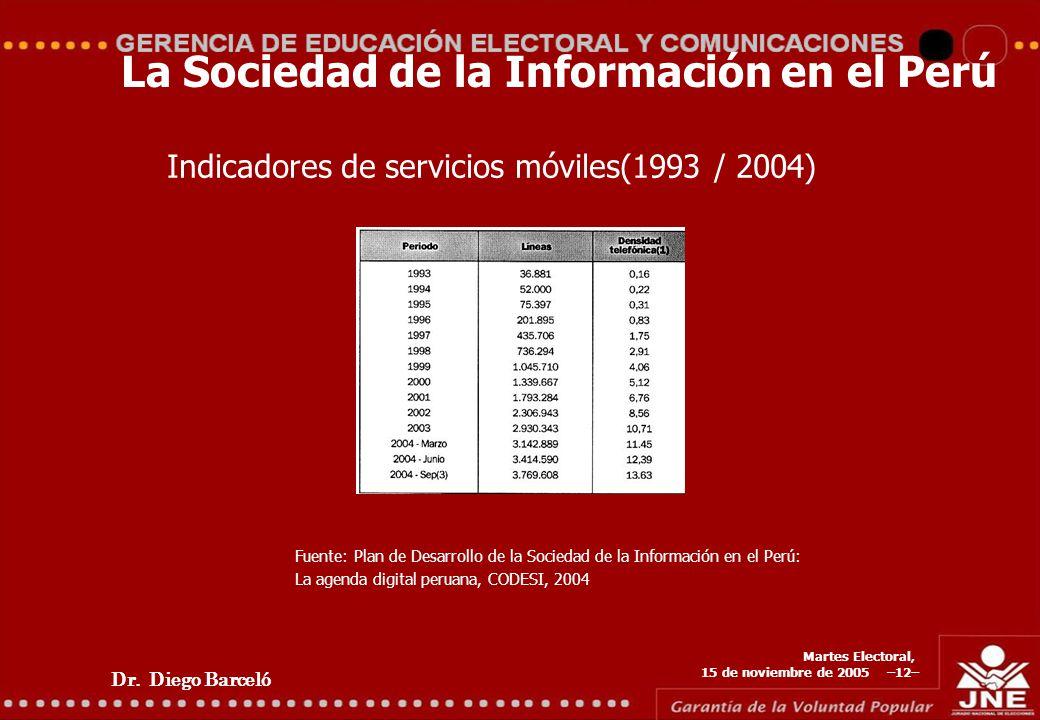 Dr. Diego Barceló Martes Electoral, 15 de noviembre de 2005 –12– La Sociedad de la Información en el Perú Indicadores de servicios móviles(1993 / 2004