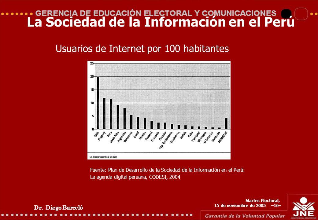 Dr. Diego Barceló Martes Electoral, 15 de noviembre de 2005 –16– La Sociedad de la Información en el Perú Usuarios de Internet por 100 habitantes Fuen