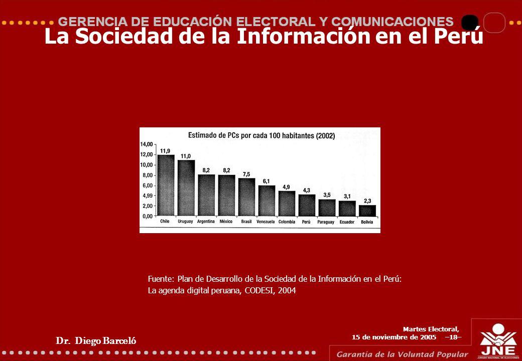 Dr. Diego Barceló Martes Electoral, 15 de noviembre de 2005 –18– La Sociedad de la Información en el Perú Fuente: Plan de Desarrollo de la Sociedad de