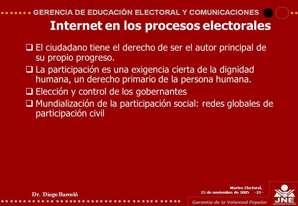 Dr. Diego Barceló Martes Electoral, 15 de noviembre de 2005 –21– Internet en los procesos electorales El ciudadano tiene el derecho de ser el autor pr