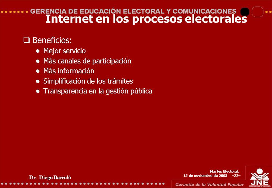 Dr. Diego Barceló Martes Electoral, 15 de noviembre de 2005 –22– Internet en los procesos electorales Beneficios: Mejor servicio Más canales de partic