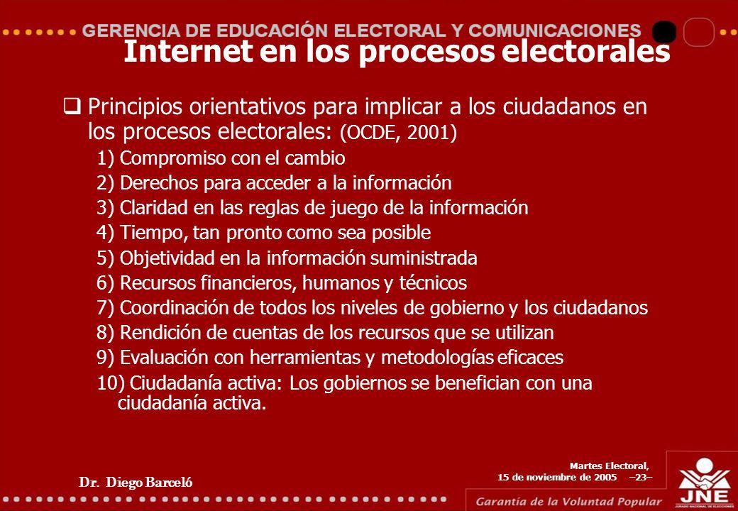 Dr. Diego Barceló Martes Electoral, 15 de noviembre de 2005 –23– Internet en los procesos electorales Principios orientativos para implicar a los ciud