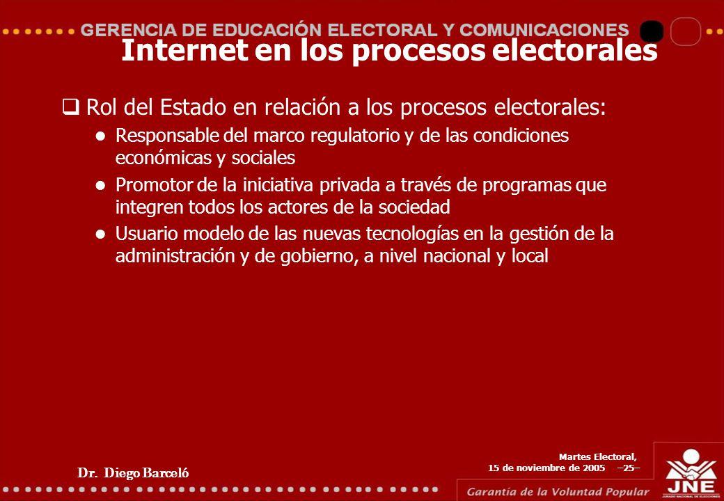 Dr. Diego Barceló Martes Electoral, 15 de noviembre de 2005 –25– Internet en los procesos electorales Rol del Estado en relación a los procesos electo