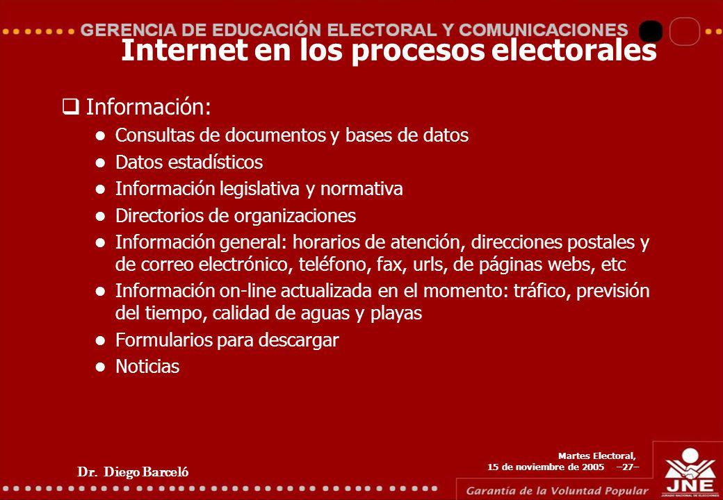 Dr. Diego Barceló Martes Electoral, 15 de noviembre de 2005 –27– Internet en los procesos electorales Información: Consultas de documentos y bases de