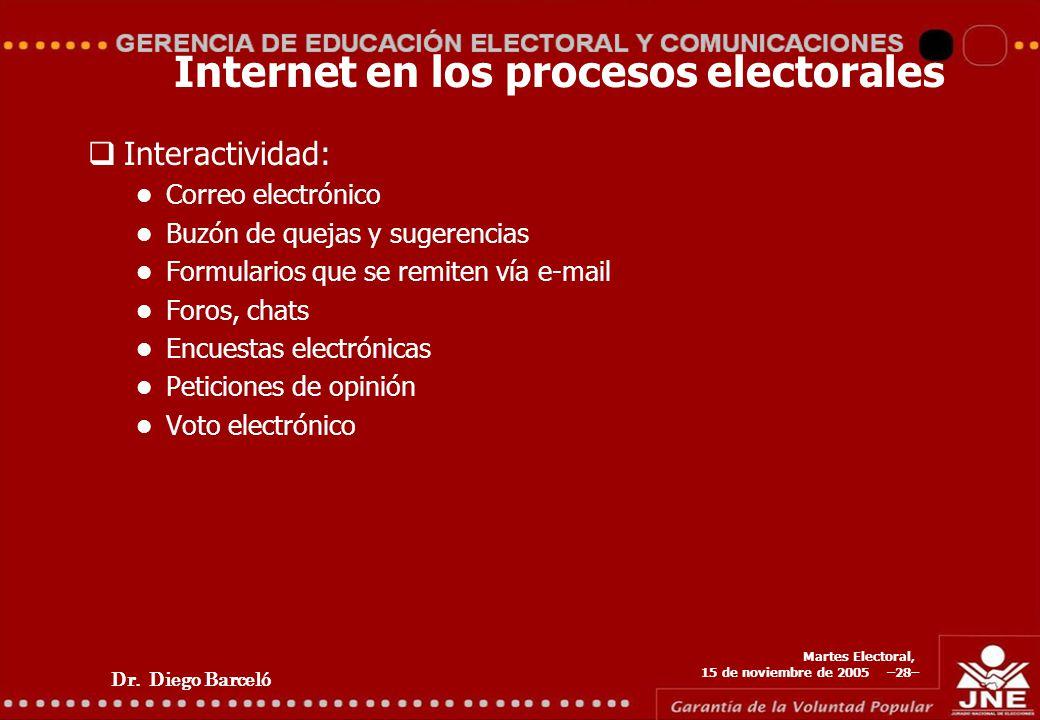 Dr. Diego Barceló Martes Electoral, 15 de noviembre de 2005 –28– Internet en los procesos electorales Interactividad: Correo electrónico Buzón de quej