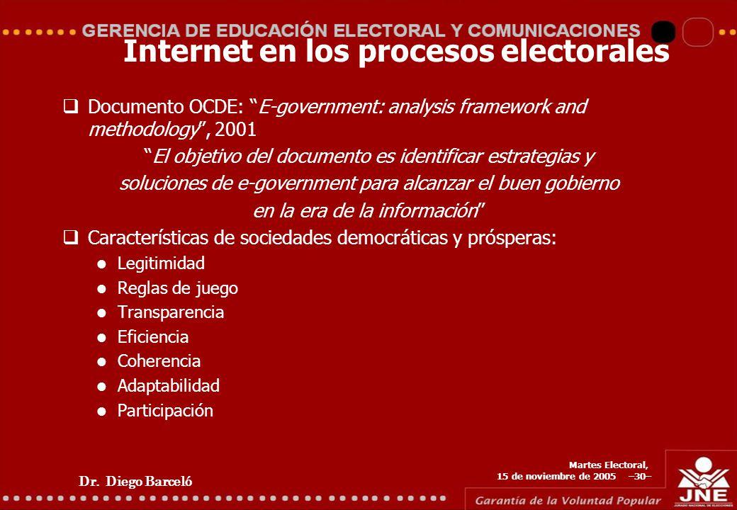 Dr. Diego Barceló Martes Electoral, 15 de noviembre de 2005 –30– Internet en los procesos electorales Documento OCDE: E-government: analysis framework